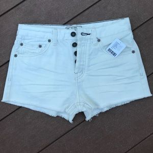 White free people denim shorts